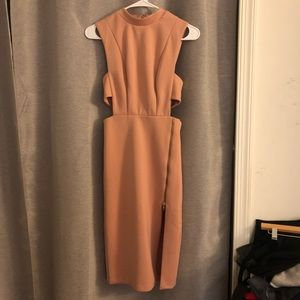 Nude Cutout Bodycon Dress with Zipper details
